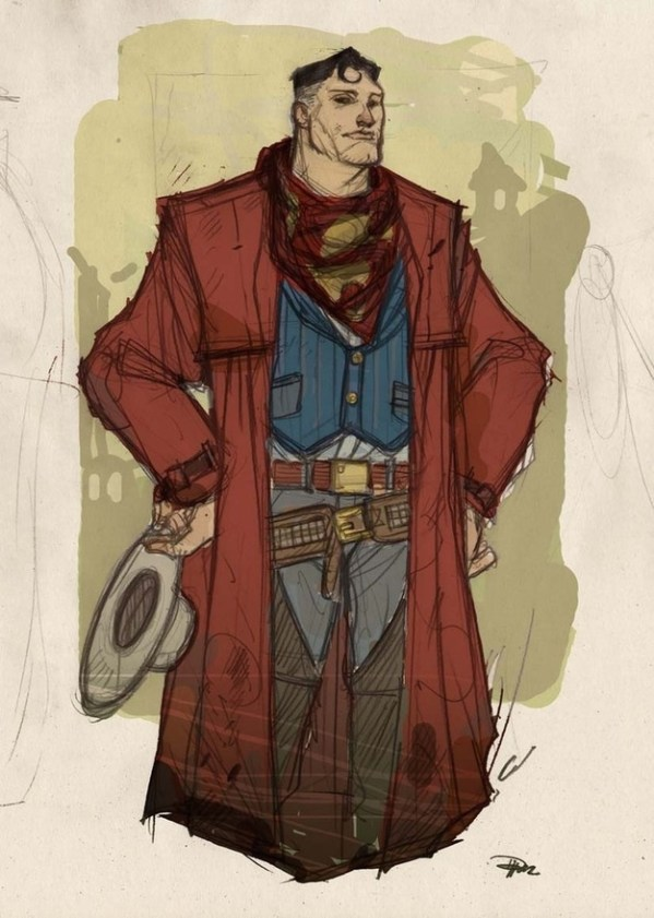 Wild West Superman by Denis Medri - Western Justice League Redesign