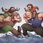 Hodor and Bran vs. Sloth and Chunk - Game of Thrones x Goonies Mashup Art