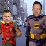Mashup of Ben Affleck and Matt Damon with Adam West and Burt Ward as Batman and Robin.