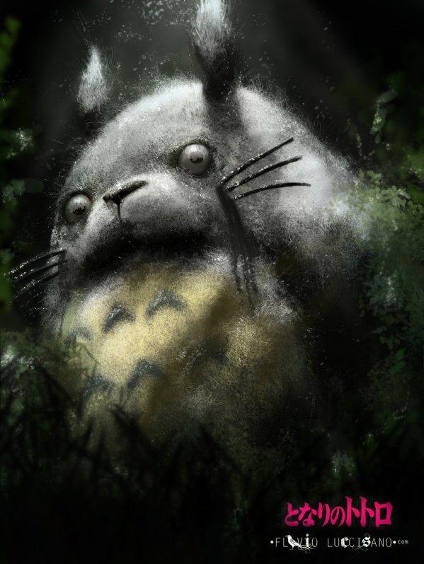 Creepy My Neighbor Totoro art by Flavio Luccisano - Anime - Hayao Miyazaki - Studio Ghibli
