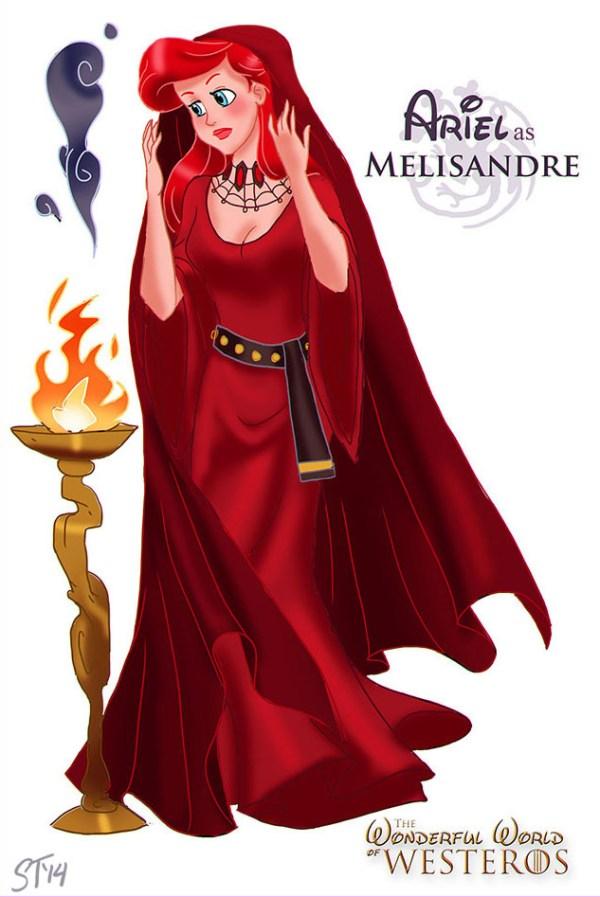 Ariel (Little Mermaid) as Melisandre - Disney Princesses x Game of Thrones