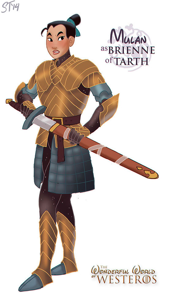 Mulan as Brienne of Tarth - Disney Princesses x Game of Thrones