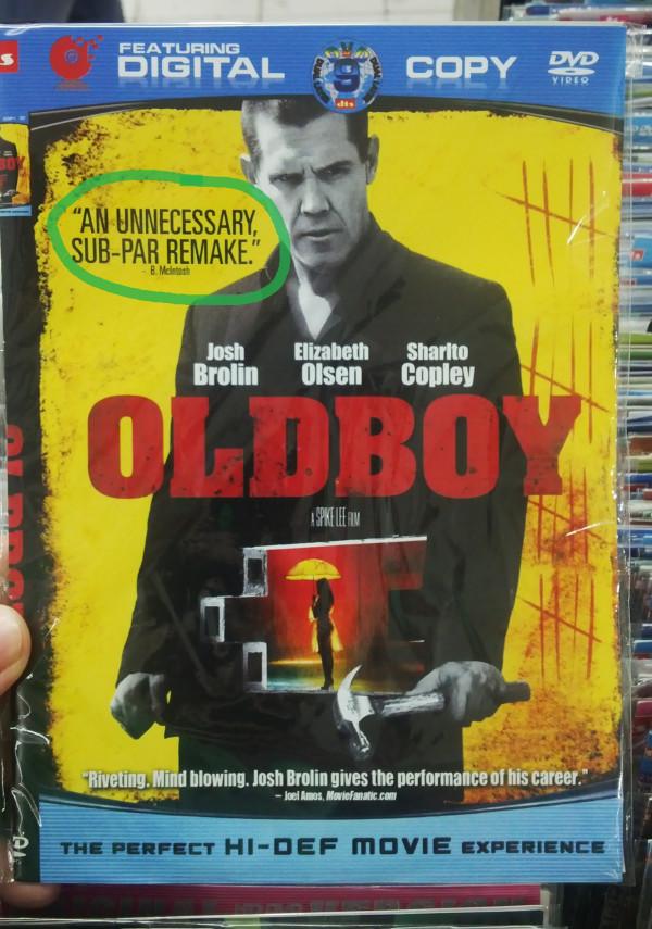"Oldboy Remake Bootleg DVD - ""An unnecessary, sub-par remake"""