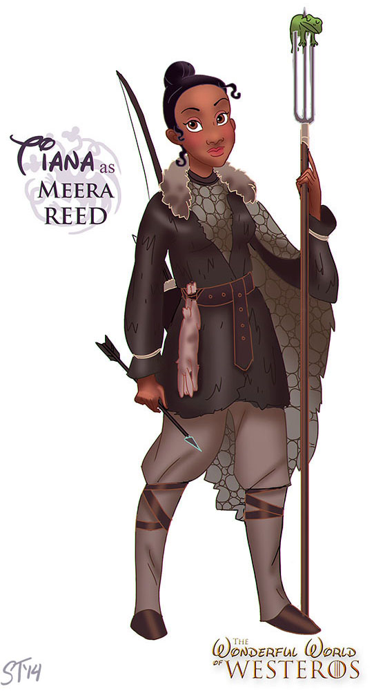 Tiana (Princess and the Frog) as Meera Reed - Disney Princesses x Game of Thrones