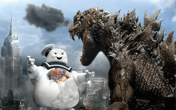 Godzilla vs The Stay Puft Marshmallow Man Wallpaper