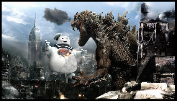 Godzilla vs The Stay Puft Marshmallow Man from Ghostbusters by Rabittooth