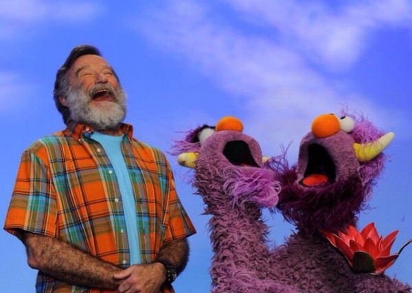 Robin Williams and the Two-Headed Monster muppet on Sesame Street