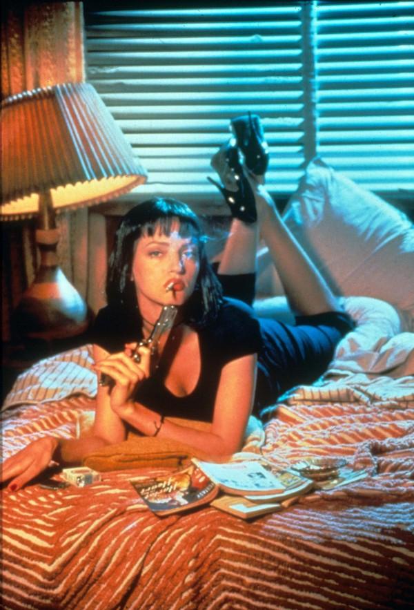 Uma Thurman as Mia Wallace Holding Gun and Smoking Cigarette - Pulp Fiction - Quentin Tarantino
