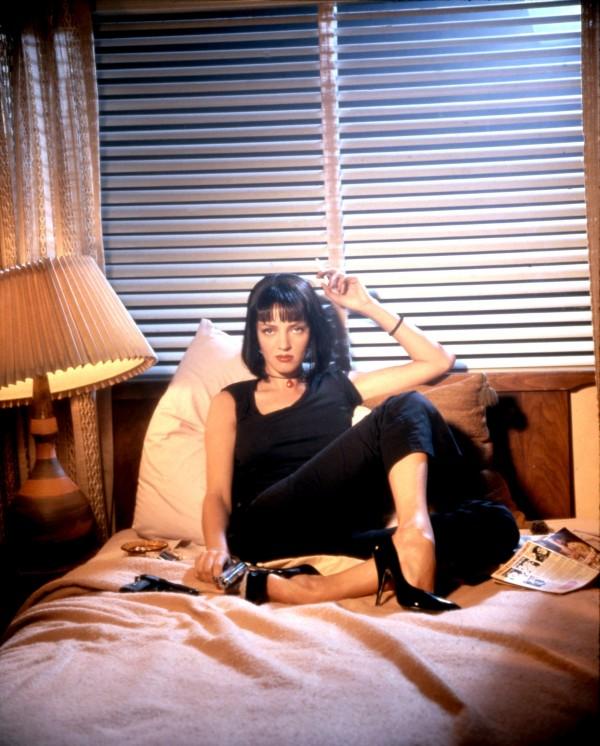 Uma Thurman as Mia Wallace Sitting in Bed - Pulp Fiction Photoshoot - Quentin Tarantino