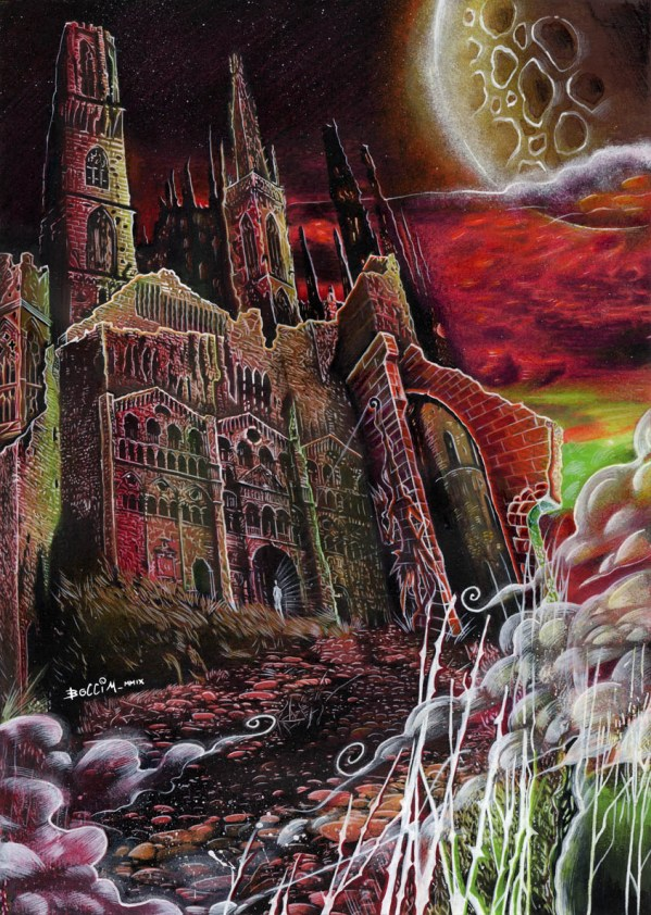 "Exham Priory, the De la Poers' manor from the ""The Rats in the Walls"" by H.P. Lovecraft. Artwork by Matteo Bocci."