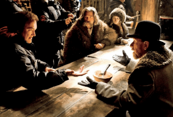 Quentin Tarantino and Tim Roth in The Hateful Eight