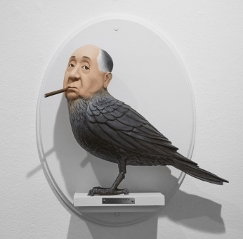 Alfred Hitchcock bird figure by Mike Leavitt