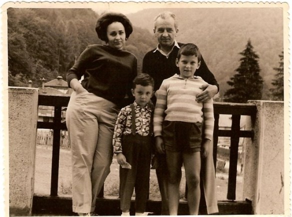 Three year-old Radu, his older brother, his mother and father, in a family portrait from 1965