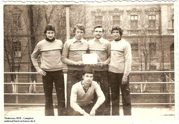 Radu Codrescu, first on the left, rowing champion at 16
