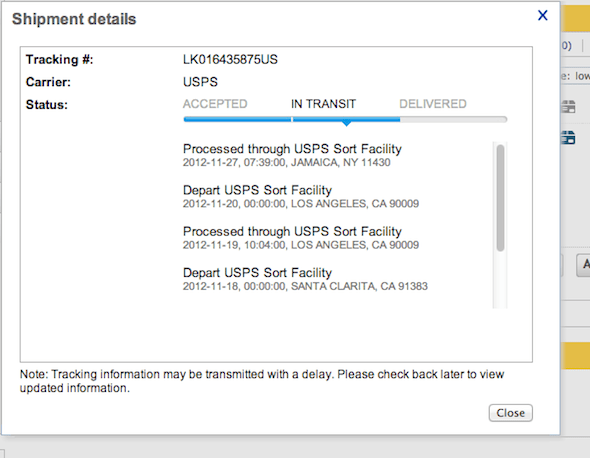 tracking on ebay