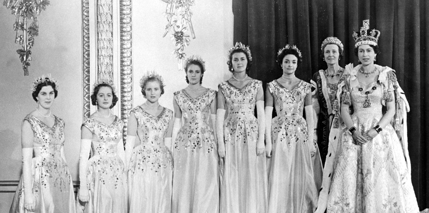 Queen Elizabeth with her Maids of Honour after the Coronation