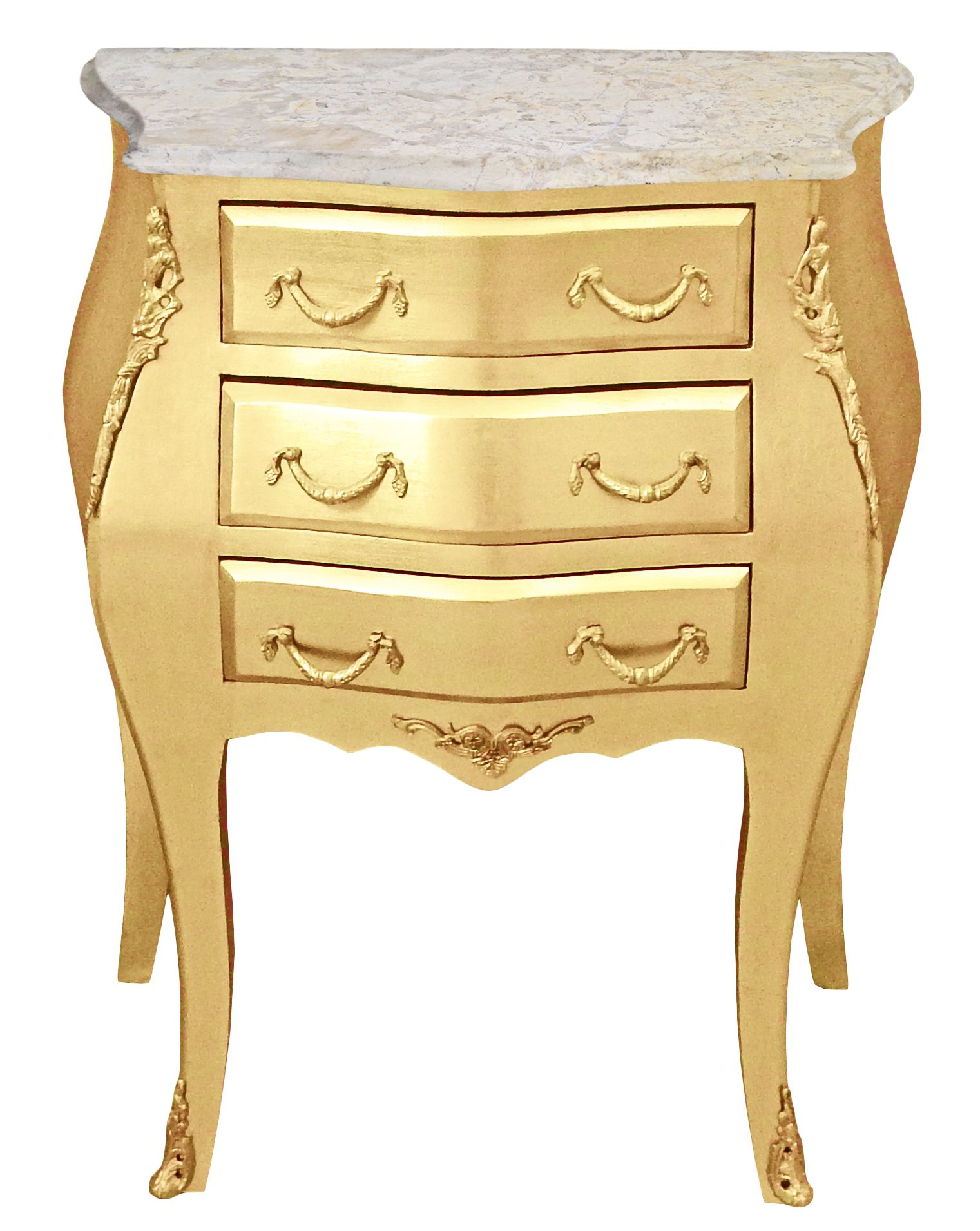 Bedside Bedside Baroque Wooden Gold Chest With Beige Marble