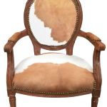 Baroque Armchair Of Louis Xvi Style Real Cowhide Brown And