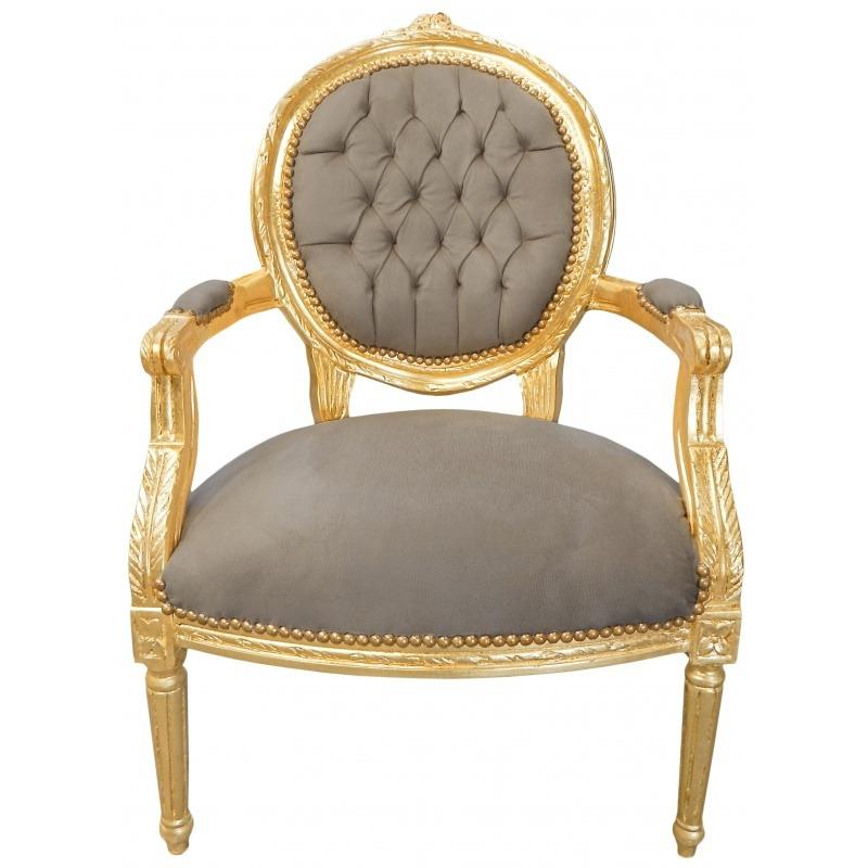 fauteuil louis xvi de style baroque velours taupe et bois dore