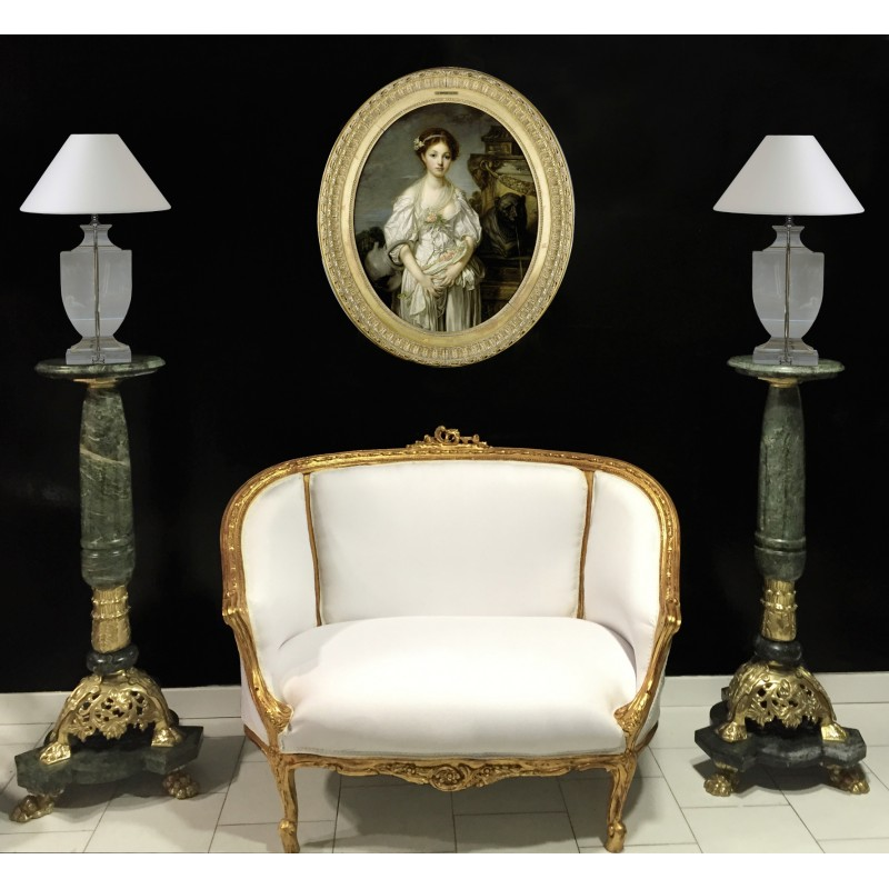 Sofa Louis XV Style White Coton Fabric And Gold Wood
