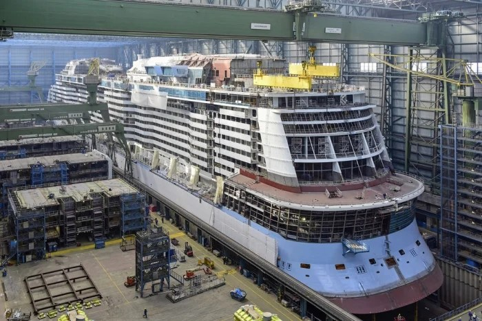 Ovation of the Seas float out.
