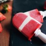 Popsicles II ! Glaces à l'eau à la fraise, coeur yaourt