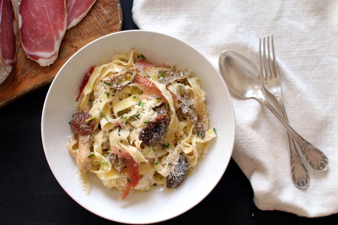 pates maison champignons jambon