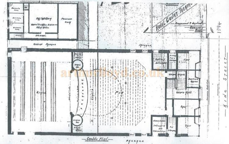 An architect's Ground Plan of the Royal Court Theatre in 1894