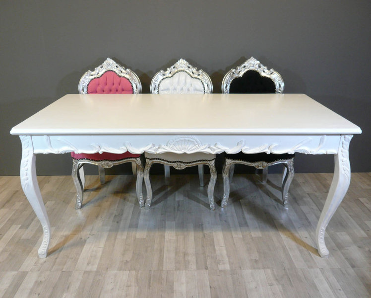 white baroque table baroque armchairs