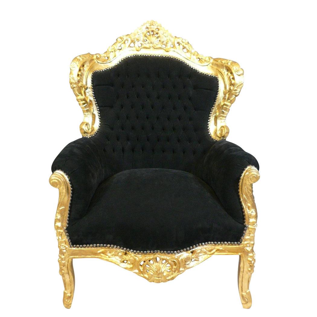 Fauteuil Baroque Noir Et Dor Chaise Baroque