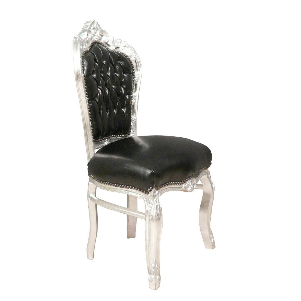 Chaise Baroque Noire Et Argent En Simili Cuir