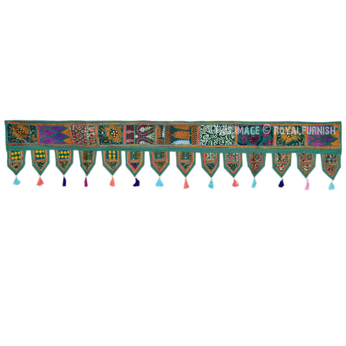 Green Indian Vintage Patchwork Window Hanging Valance
