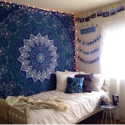 blue star mandala dorm decor hippie tapestry wall hanging