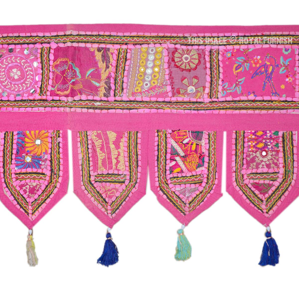 Large Pink Patchwork Embroidered Toran Windows Door