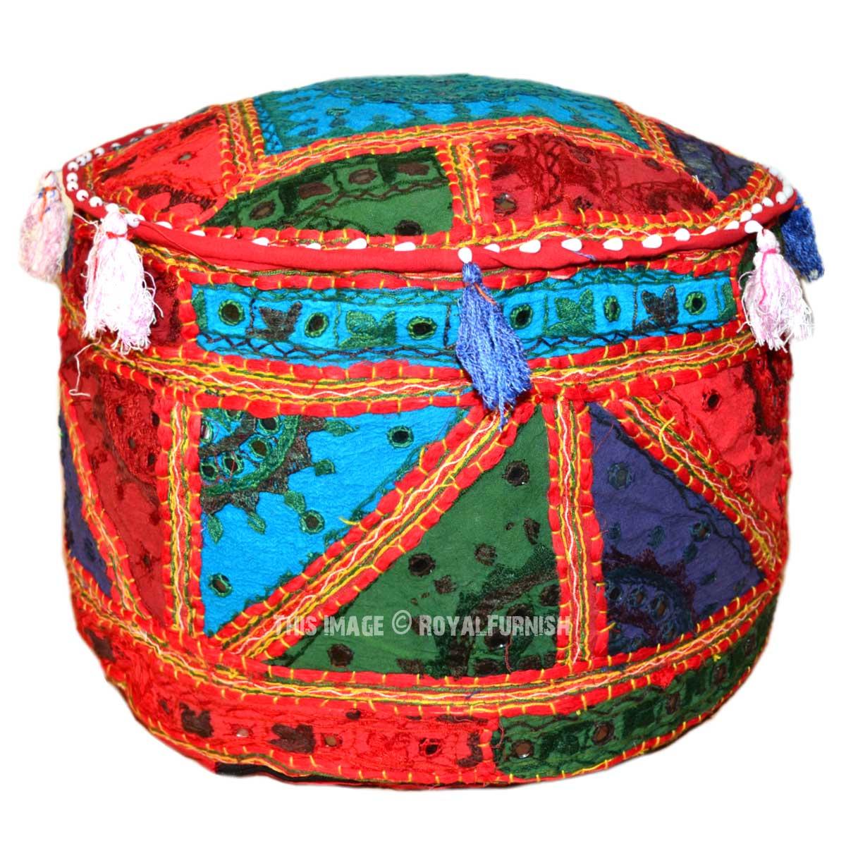 Multi Round Shape Patchwork Floor Suti Pouf Ottoman