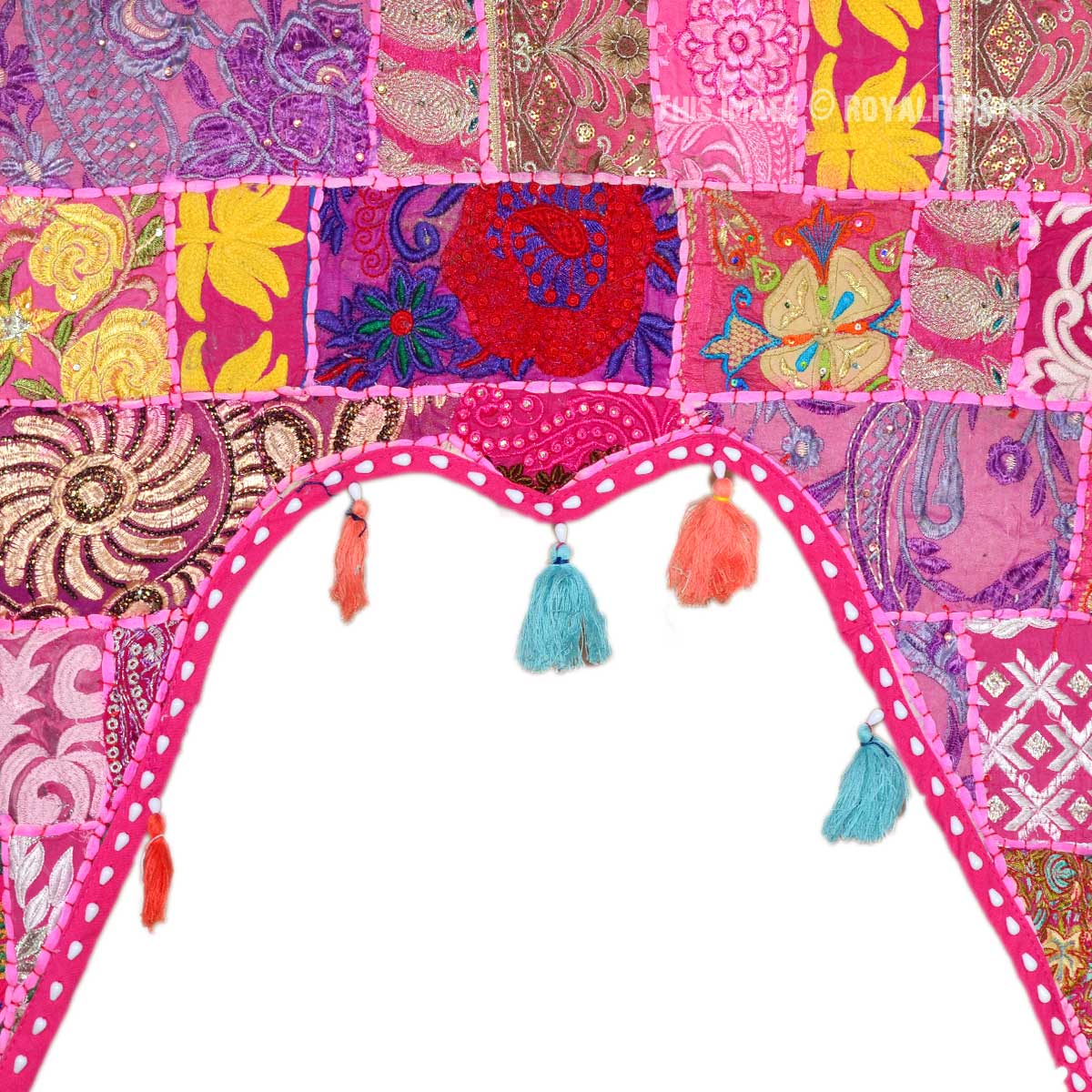 Pink Multi M Shaped Embroidered Cotton Door Topper Valance