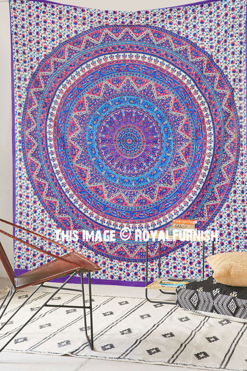 Pink Purple Kerala Mandala Psychedelic Bohemian Wall Tapestry