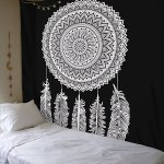 Queen Black White Dream Catcher Mandala Wall Hanging Cotton Tapestry Royalfurnish Com