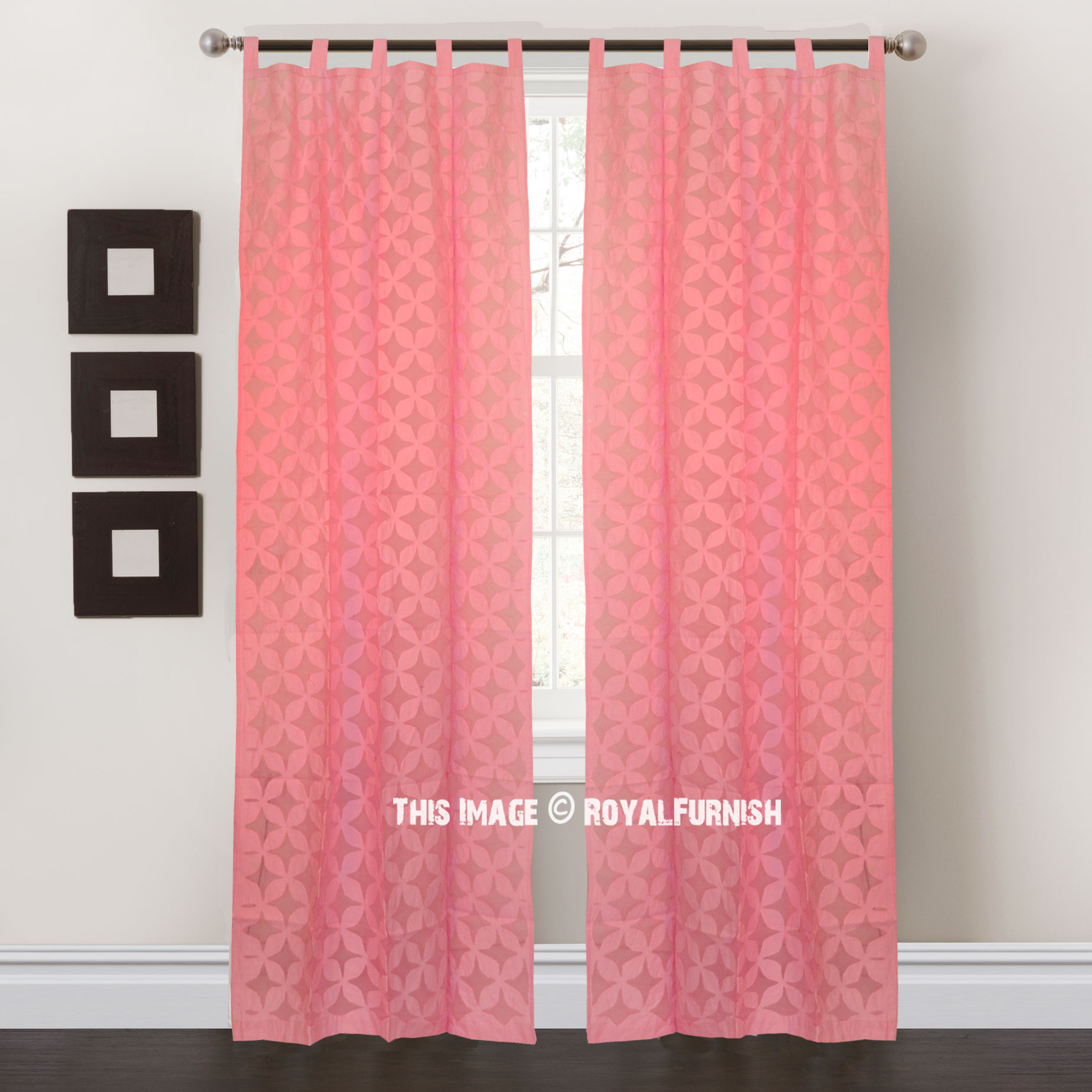 Pink Floral Cutwork Cotton Sheer Curtains Set Of 2