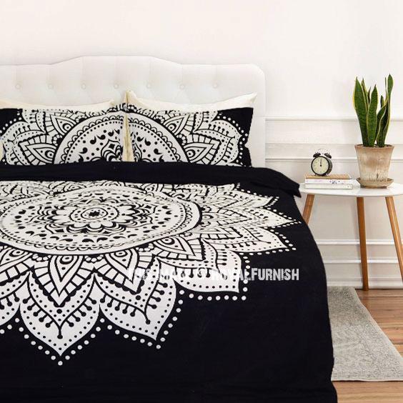 black white rangoli bohemian gypsy mandala bedding duvet cover set with 2 pillow shams