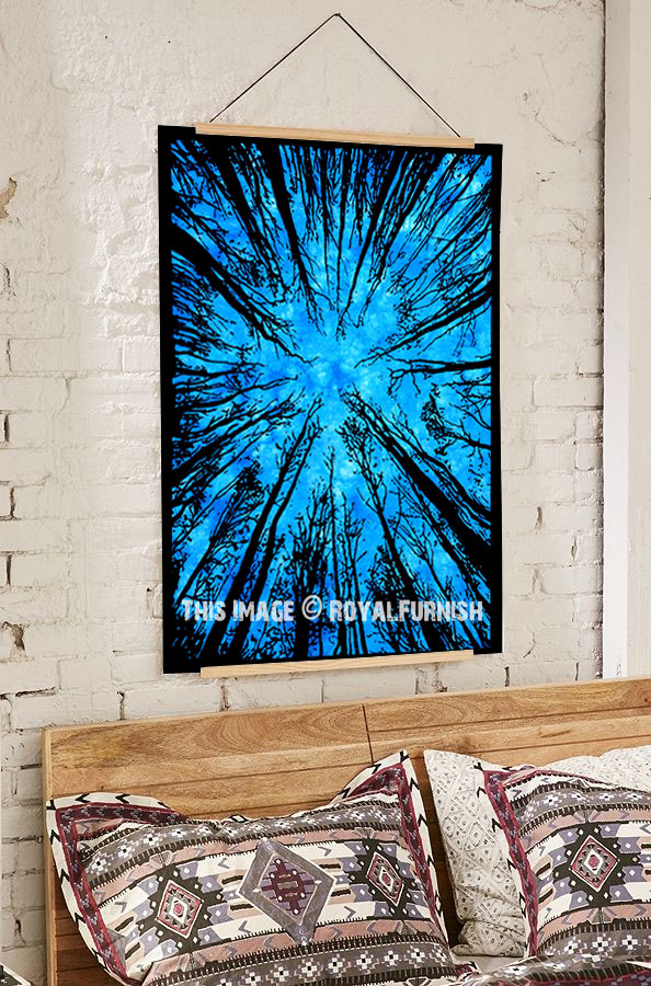 Turquoise Multi Locust Trees Tie Dye Wall Art Poster