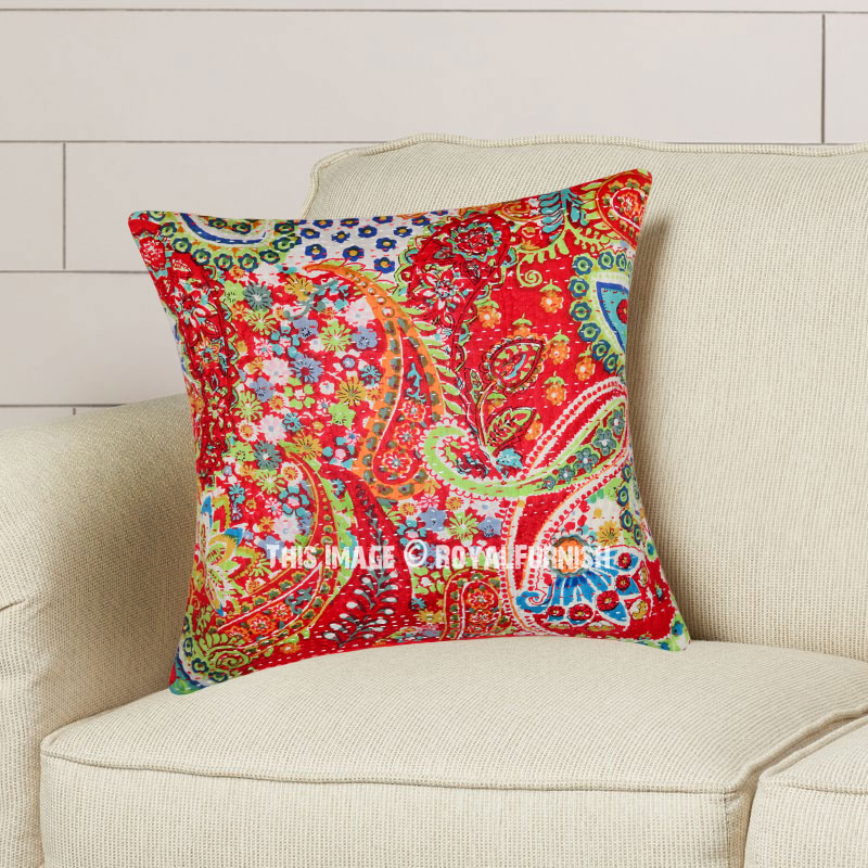 16 red multi paisley hand stitched kantha throw pillow case royalfurnish com