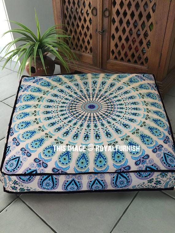 white blue mandala square floor pillow cover 36 inch royalfurnish com