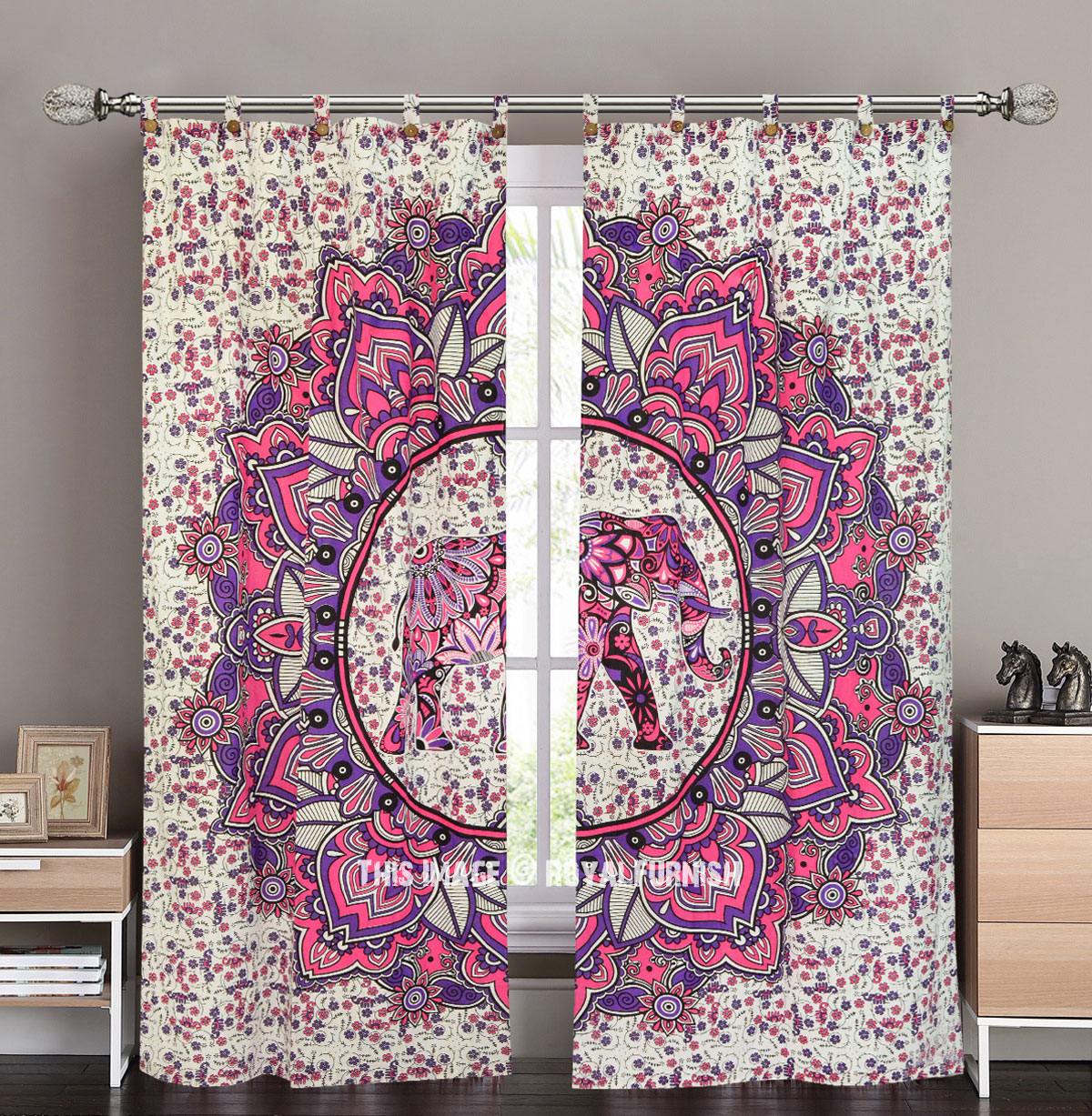 Pink Amp Purple Asian Elephant Tapestry Curtain Panel Pair