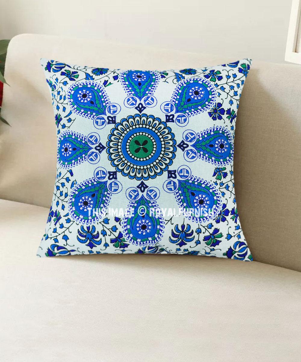 Blue Boho Chic Mandala Throw Pillow Cover 16x16 Inch Royalfurnish Com