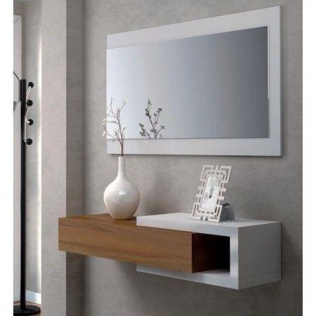 NOON Console Dentre Avec Miroir Blanc Et Noyer RoyalPrice