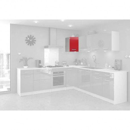 start meuble de cuisine haut d angle l 58 cm rouge brillant