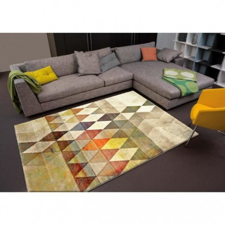 belis tapis de salon contemporain 80x150 cm beige orange et jaune