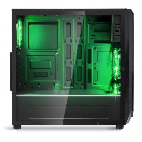 spirit of gamer boitier pc rogue one noir moyen tour fenetre retroeclaire vert