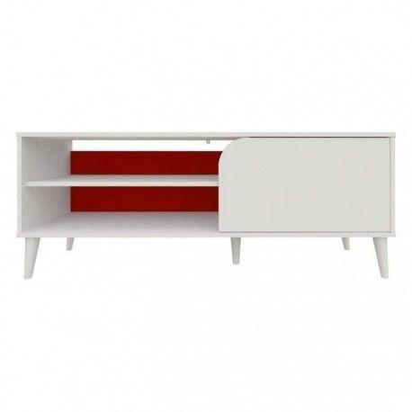 color meuble tv vintage decor blanc l 130 cm
